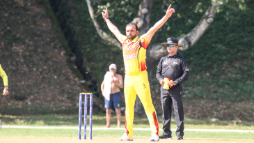 Irfan Afridi does the starfish in homage to his uncle after taking a wicket