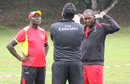 Coach Steve Tikolo and captain Roger Mukasa are stoic after rain denied Uganda victory, Jersey v Uganda, ICC World Cricket League Division Four, Bangi, May 5, 2018