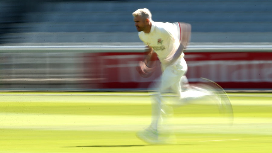 White lightning: James Anderson runs in