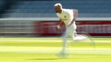 White lightning: James Anderson runs in