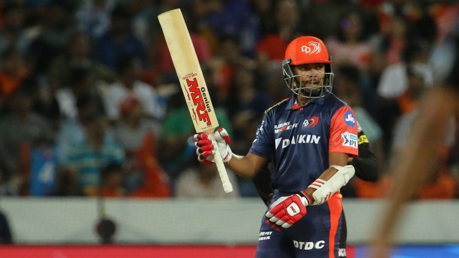 Prithvi Shaw celebrates his second IPL fifty