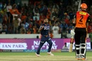 Amit Mishra celebrates after bowling Alex Hales, Sunrisers Hyderabad v Delhi Daredevils, IPL 2018, Hyderabad, May 5, 2018
