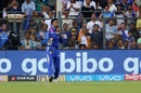 Krunal Pandya holds on to a catch from Shubman Gill, Mumbai Indians v Kolkata Knight Riders, IPL 2018, Mumbai, May 6, 2018
