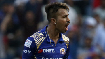 Hardik Pandya reacts to a dropped catch