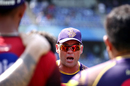 Jacques Kallis delivers a pep-talk in the team huddle, Mumbai Indians v Kolkata Knight Riders, IPL 2018, Mumbai, May 6, 2018