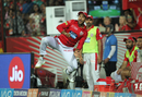 Mayank Agarwal is airborne while effecting a relay catch, Kings XI Punjab v Rajasthan Royals, IPL 2018, Indore, May 6, 2018