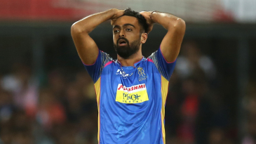 Jaydev Unadkat reacts in the field