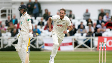 Stuart Broad sets off in celebration