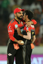 Yuzvendra Chahal gets a hug from Virat Kohli, Sunrisers Hyderabad v Royal Challengers Bangalore, Hyderabad, IPL 2018, May 7, 2018