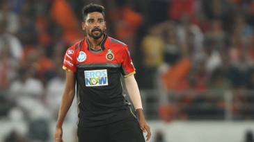 Mohammed Siraj reacts after dismantling the stumps