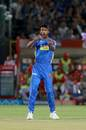K Gowtham strikes a pose, Rajasthan Royals v Kings XI Punjab, IPL 2018, Jaipur, May 8, 2018
