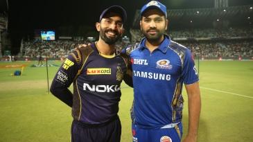 Dinesh Karthik and Rohit Sharma pose ahead of the toss