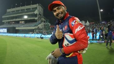 Rishabh Pant gestures at the camera