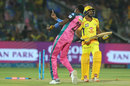 Jofra Archer celebrates after getting Ambati Rayudu to chop one on, Rajasthan Royals v Chennai Super Kings, IPL 2018, Jaipur, May 11, 2018