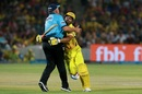 Suresh Raina collides with Marais Erasmus, Rajasthan Royals v Chennai Super Kings, IPL 2018, Jaipur, May 11, 2018