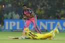 Jaydev Unadkat attempts to run Sam Billings out, Rajasthan Royals v Chennai Super Kings, IPL 2018, Jaipur, May 11, 2018