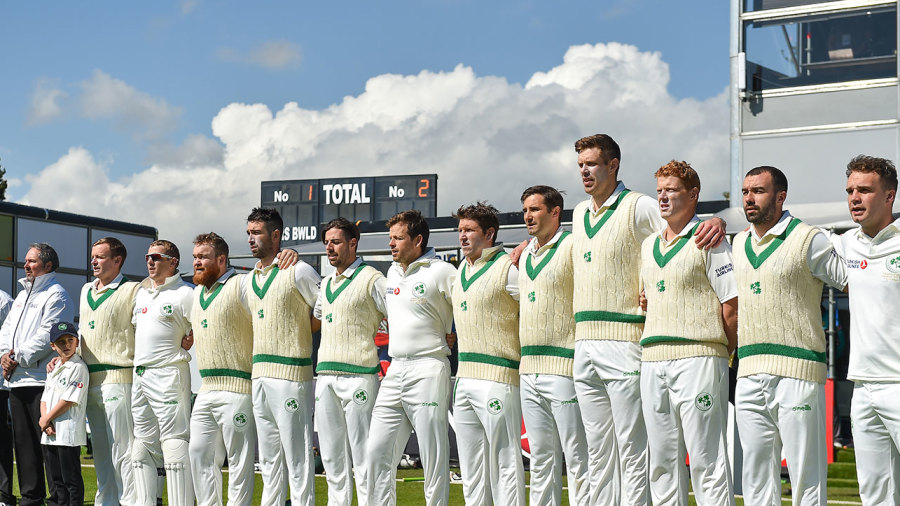 Ireland line up for their anthem