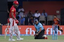 A Chris Gayle strike forced umpire Virender Sharma and KL Rahul to duck for cover, Kings XI Punjab v Kolkata Knight Riders, IPL 2018, Indore, May 12, 2018