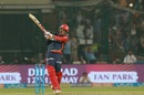Abhishek Sharma muscles a boundary down the ground, Delhi Daredevils v Royal Challengers Bangalore, IPL 2018, Delhi, May 12, 2018