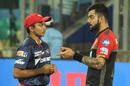 Prithvi Shaw has a chat with Virat Kohli, Delhi Daredevils v Royal Challengers Bangalore, IPL 2018, Delhi, May 12, 2018
