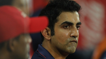 Gautam Gambhir looks on from the dugout
