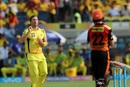 Shane Watson reacts after delivering a ball, Chennai Super Kings v Sunrisers Hyderabad, IPL 2018, Pune, May 13, 2018