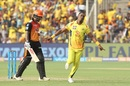 Dwayne Bravo is jubilant after removing Shikhar Dhawan, Chennai Super Kings v Sunrisers Hyderabad, IPL 2018, Pune, May 13, 2018