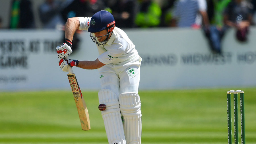 Ed Joyce was given lbw against Mohammad Abbas