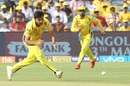 Shardul Thakur prepares to pick the ball up, Chennai Super Kings v Sunrisers Hyderabad, IPL 2018, Pune, May 13, 2018