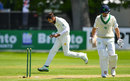 Mohammad Amir ripped out William Porterfield's off stump, Ireland v Pakistan, Only Test, Malahide, 3rd day, May 13, 2018