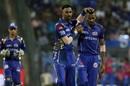 Brothers Krunal and Hardik Pandya celebrate Ajinkya Rahane's dismissal, Mumbai Indians v Rajasthan Royals, IPL, Mumbai, May 13, 2018