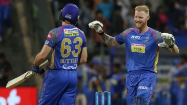 Ben Stokes and Jos Buttler celebrate the victory
