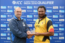 Assad Vala receives his Man-of-the-Match award from Geoff Allardice, the ICC s general manager of cricket operations, PNG v Nepal, World T20 Qualifier, Malahide, 17 July 2015