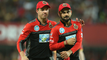 Virat Kohli and AB de Villiers share a moment together