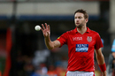 Andrew Tye collects the ball, Kings XI Punjab v Royal Challengers Bangalore, IPL 2018, Indore, May 14, 2018