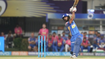 Rahul Tripathi looks to clear the off side