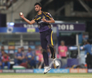 Prasidh Krishna fields off his own bowling, Kolkata Knight Riders v Rajasthan Royals, IPL 2018, Kolkata, May 15, 2018
