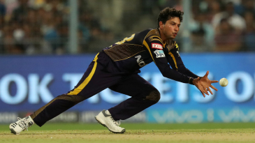 Kuldeep Yadav shapes to take a catch