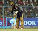 Dinesh Karthik sorts out his guard, Kolkata Knight Riders v Rajasthan Royals, IPL 2018, Kolkata, May 15, 2018