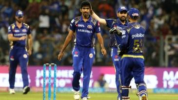 Jasprit Bumrah celebrates Marcus Stoinis' wicket