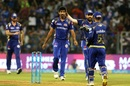 Jasprit Bumrah celebrates Marcus Stoinis' wicket, Mumbai Indians v Kings XI Punjab, IPL 2018, Mumbai, May 16, 2018