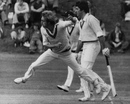 Stuart Wilkinson bowls, with non-striker Craig Serjeant looking on, Minor Counties v Australians, Sunderland, August 4, 1977