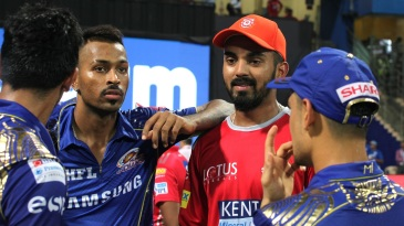 KL Rahul and Hardik Pandya have a chat after the game