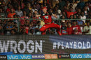Spectators look on as AB de Villiers pouches the ball , Royal Challengers Bangalore v Sunrisers Hyderabad, IPL, Bengaluru, May 17, 2018