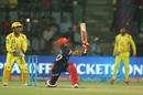 Prithvi Shaw miscues a slog sweep towards the leg side, Delhi Daredevils v Chennai Super Kings, IPL 2018, Delhi, May 18, 2017