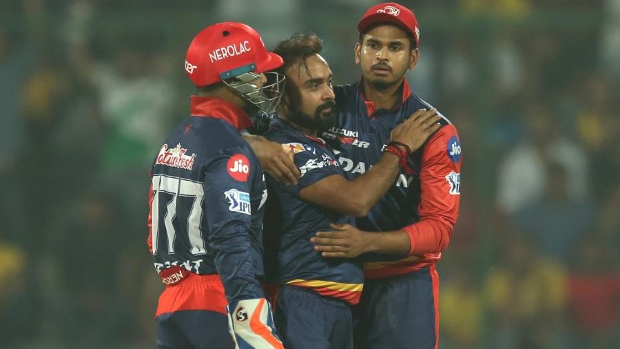 Amit Mishra celebrates Sam Billings' wicket