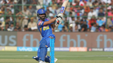 Ajinkya Rahane is off balance as he fails to connect a scoop shot