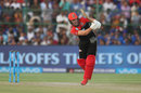 AB de Villiers steps down the pitch and punches straight, Rajasthan Royals v Royal Challengers Bangalore, IPL, Jaipur, May 19, 2018