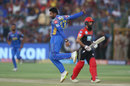 Shreyas Gopal leaps in the air after taking a return catch to dismiss Moeen Ali, Rajasthan Royals v Royal Challengers Bangalore, IPL, Jaipur, May 19, 2018