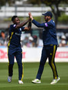 Fidel Edwards celebrates a wicket with James Vince, Sussex v Hampshire, Royal London Cup, Hove, May 19, 2018